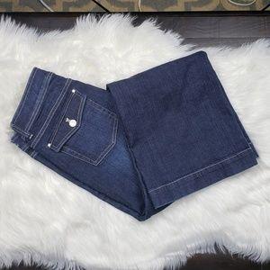 WHBM Wide Leg Dark Wash Flap Pocket Jeans Size 8